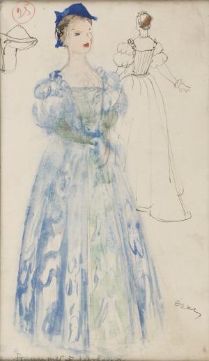 Otto AXER (1906-1983), Projekt kostiumu - Błękitna suknia, lata 60. XX w.