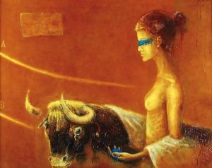 Mirek ANTONIEWICZ (ur. 1954), Kobieta i byk, 2003