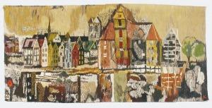 Barbara ARGASIŃSKA-ŁOZIŃSKA (ur.1934), Gobelin - Panorama Gdańska z Żurawiem, l. 60, 70 XX w.
