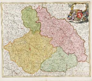Johann Baptist HOMANN (1663-1724), Mapa Czech, Śląska, Moraw i Łużyc