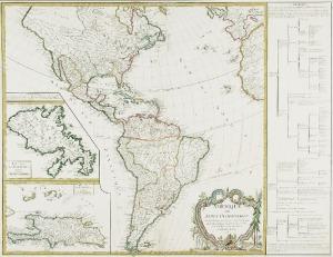 "Gilles ROBERT de VAUGONDY,Jean-B.H. DELAHAYE, Mapa Ameryki (""Indii Zachodnich"")"