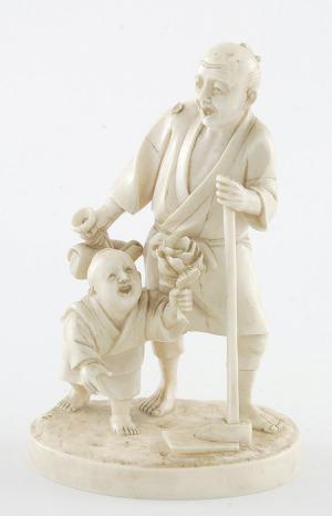Figurka ogrodnika z chłopczykiem