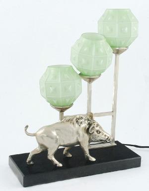 Lampa elektryczna art deco, z figurą dzika