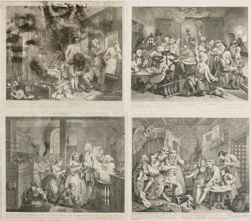 William HOGARTH (1697-1764), Zestaw 8 grafik, z cyklu: A Rake's progress