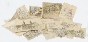 Tadeusz CIEŚLEWSKI - ojciec (1870-1956), Zestaw 22 rysunków, szkicy i akwarel oraz jeden ex libris