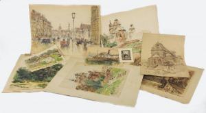 Tadeusz CIEŚLEWSKI - ojciec (1870-1956), Zestaw 9 akwarel