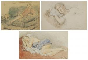 Tadeusz CIEŚLEWSKI - ojciec (1870-1956), Śpiąca / czytająca - Zofia Cieślewska - zestaw 3 prac