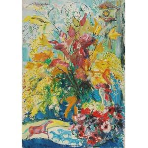 Roman BILIŃSKI (1897-1981), Martwa natura z kwiatami [Fiori con galletto], 1964