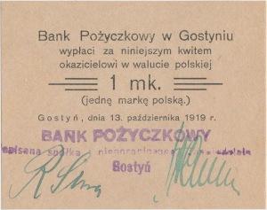 Gostyń, Bank Pożyczkowy 1 mk 1919