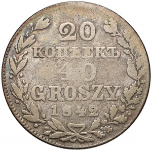 20 kopiejek = 40 groszy 1842 MW, Warszawa