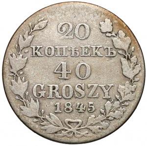 20 kopiejek = 40 groszy 1845 MW, Warszawa - rzadkie