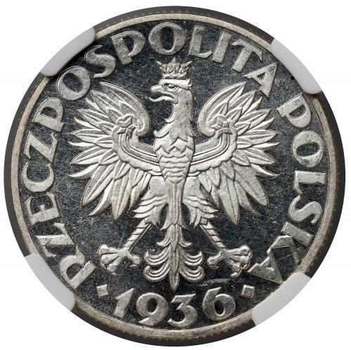 PRÓBA 5 złotych 1936 Żaglowiec - stempel LUSTRZANY