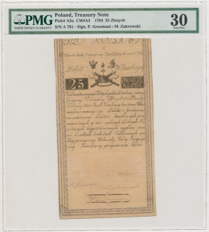 25 złotych 1794 - A numer 791 - [PIETER DE VRIES &] COMP - PMG 30