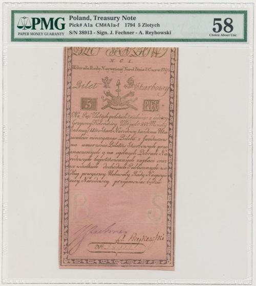 5 złotych 1794 - N.C.1 - herbowy znak wodny - PMG 58
