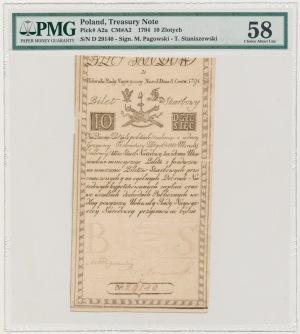 10 złotych 1794 - D - PMG 58