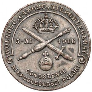 1916r. Medal Ogłoszenie Niepodległości Polski