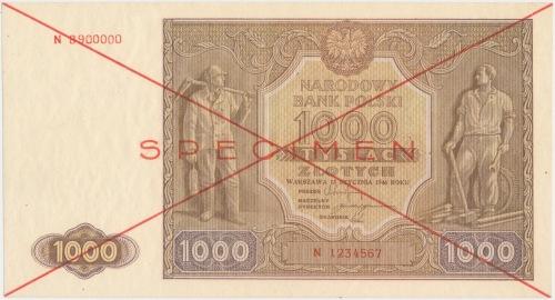 1.000 złotych 1946 - SPECIMEN - N 1234567 8900000