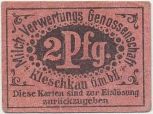 Kleszczewo (Kleschkau), T-wo Zużytkowania Mleka 2 pf. (1917)