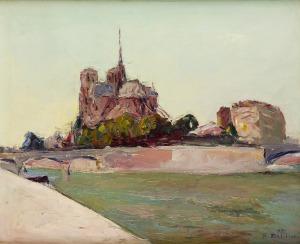 Włodzimierz Terlikowski (1873 - 1951), Widok na Île de la Cité w Paryżu, 1929