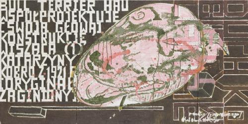 """Marek Sobczyk (Ur. 1955), """"Bullterrier Hau współprojektuje [swoją głową) Konstrukcję Wiszącą (1) Katarzyny Kobro z 1921 roku [oryginał zaginiony; Duch Kobiety w Lampie]"""", 2014 r."""