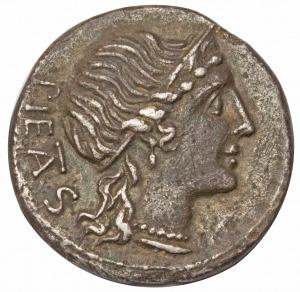 Republika rzymska M.herrennius AR-denar 108-107 p.n.e.