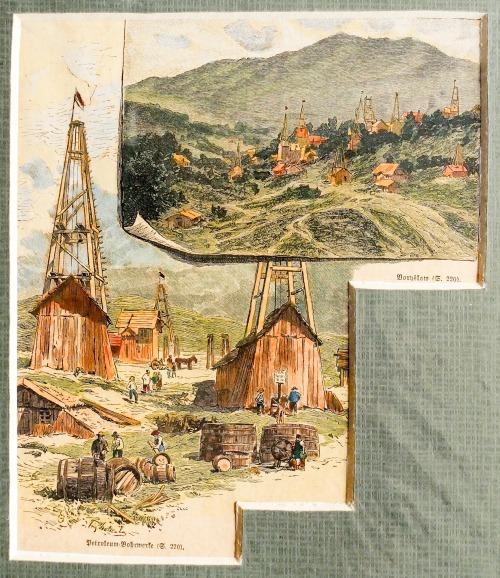BORYSŁAW (ukr. Борислав)., Widoki szybów naftowych w 2 sekcjach, sygn. autora nieczyt., ok. 1870; drzew. szt. kolor., st. bdb. ...
