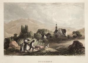 BUCZNIK, Widok na kościół, ryt. Albert Payne, rys. Adrian Ludwig Richter, pochodzi z: Herloßsohn, H., Wan ...