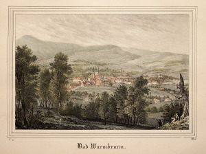 CIEPLICE ŚLĄSKIE-ZDRÓJ (obecnie dzielnica Jeleniej Góry), Panorama miasta; anonim, pochodzi z: Borussia, Museum für preussische Vaterlandskunde, Drezno 1838- ...