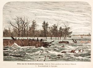 CZARNOWO, Widok okolic miasta zalanych przez wodę w czasie powodzi; rys. Robert Assmus, 1879; drzew. szt. kol ...