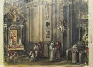 CZĘSTOCHOWA, Wnętrze klasztoru; rys. R. Hengstenberg (odręczna sygn. autora i data 10.5.46. na prawym marginesi ...