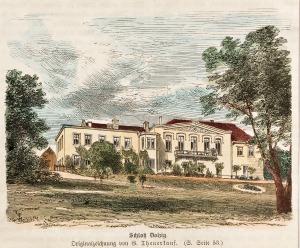 DŁUŻEK, Widok na pałac, rys. Gottlob Theuerkauf, 1881; drzew. szt. kolor., podklejony sztywnym papierem, st ...
