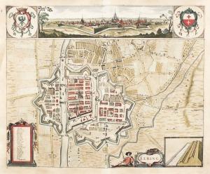 ELBLĄG, Plan miasta i najbliższej okolicy, najprawdopodobniej autorstwa Jacoba Hoffmanna; w górze panorama ...