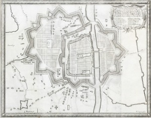 ELBLĄG, Plan miasta i obwarowań, ryt. Francois de Lapointe, rys. Erik Jönsson Dahlberg, pochodzi z: Pufend ...