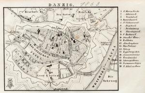 GDAŃSK, Plan Gdańska w 1863 r., pochodzi z: Baedeker, Karl, L'Allemagne..., 1863; lit. cz.-b., st. bdb., ś ...