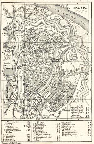 GDAŃSK, Plan Gdańska w 1874 r., pochodzi z: Baedeker, Karl, Mittel- und Nord-Deutschland, wyd. E. Wagner, D ...