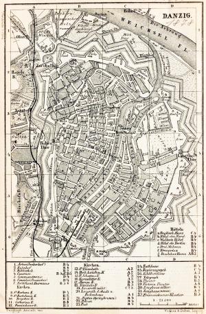 GDAŃSK, Plan Gdańska w 1878 r., pochodzi z: Baedeker, Karl, Mittel- und Nord-Deutschland, wyd. Geographisch ...
