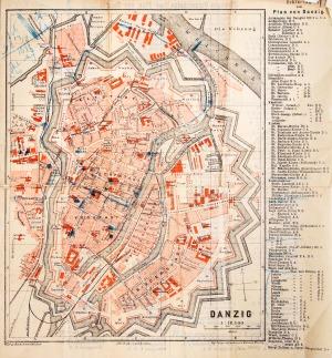 GDAŃSK, Plan Gdańska ok. 1880 r.; na verso wykaz ulic, z prawej str. wykaz obiektów: Erklärung / zum / Pl ...