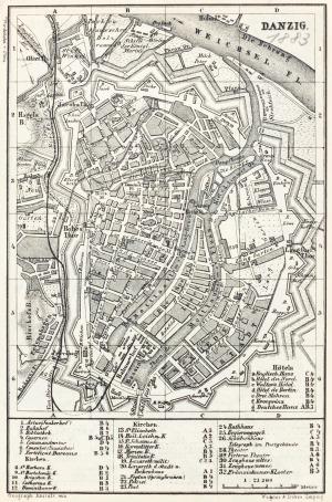 GDAŃSK, Plan Gdańska w 1883 r.; na verso mapka okolic miasta (Sopot, Oliwa, Twierdza Wisłoujście i Nowy P ...