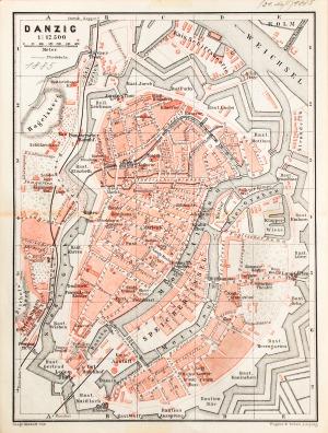 GDAŃSK, Plan Gdańska w 1885 r.; na verso cz.-b. mapka okolic miasta; pochodzi z: Baedeker, Karl, Mittel- un ...