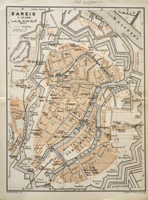 GDAŃSK, Plan Gdańska w 1889 r., pochodzi z: Baedeker, Karl, Mittel- und Nord-Deutschland, wyd. Geographisch ...