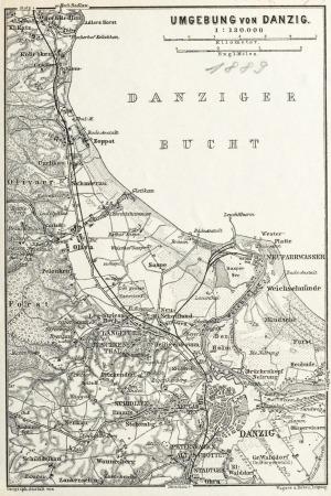 GDAŃSK, Schematyczny plan Gdańska w 1889 r. z mapą najbliższej okolicy (Sopot, Oliwa, Twierdza Wisłoujś ...