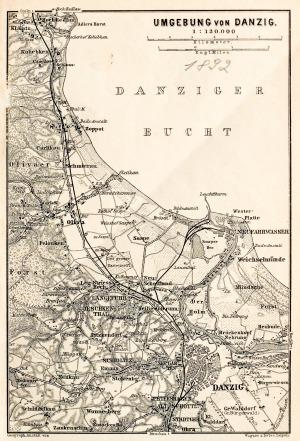 GDAŃSK, Schematyczny plan Gdańska w 1892 r. z mapą najbliższej okolicy (Sopot, Oliwa, Twierdza Wisłoujś ...