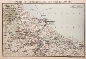 GDAŃSK, Schematyczny plan miasta i okolic z ujściem Wisły, pochodzi z: Brockhaus' Konversations-Lexikon, ...