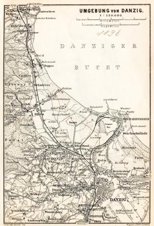 GDAŃSK, Schematyczny plan Gdańska w 1896 r. z mapą najbliższej okolicy (Sopot, Oliwa, Twierdza Wisłoujś ...
