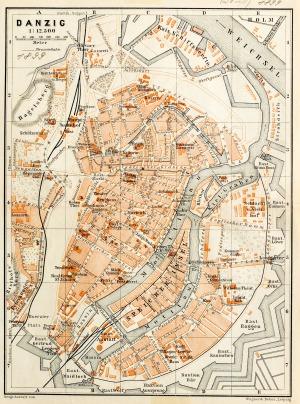 GDAŃSK, Plan Gdańska w 1899 r., pochodzi z: Baedeker, Karl, Mittel- und Nord-Deutschland, wyd. Geographisch ...