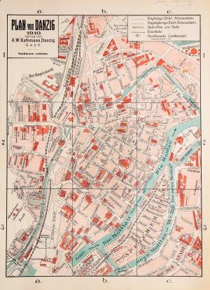 GDAŃSK, Plan Gdańska w 1910 r., wyd. A.W. Kafemann, Gdańsk 1910; chromolit., st. bdb., ślad złożenia; w ...