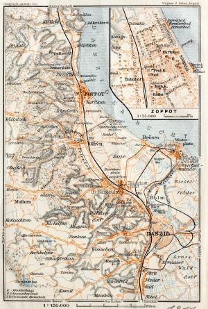 GDAŃSK, Schematyczny plan Gdańska w 1911 r. z mapą najbliższej okolicy (Sopot, Oliwa, Twierdza Wisłoujś ...