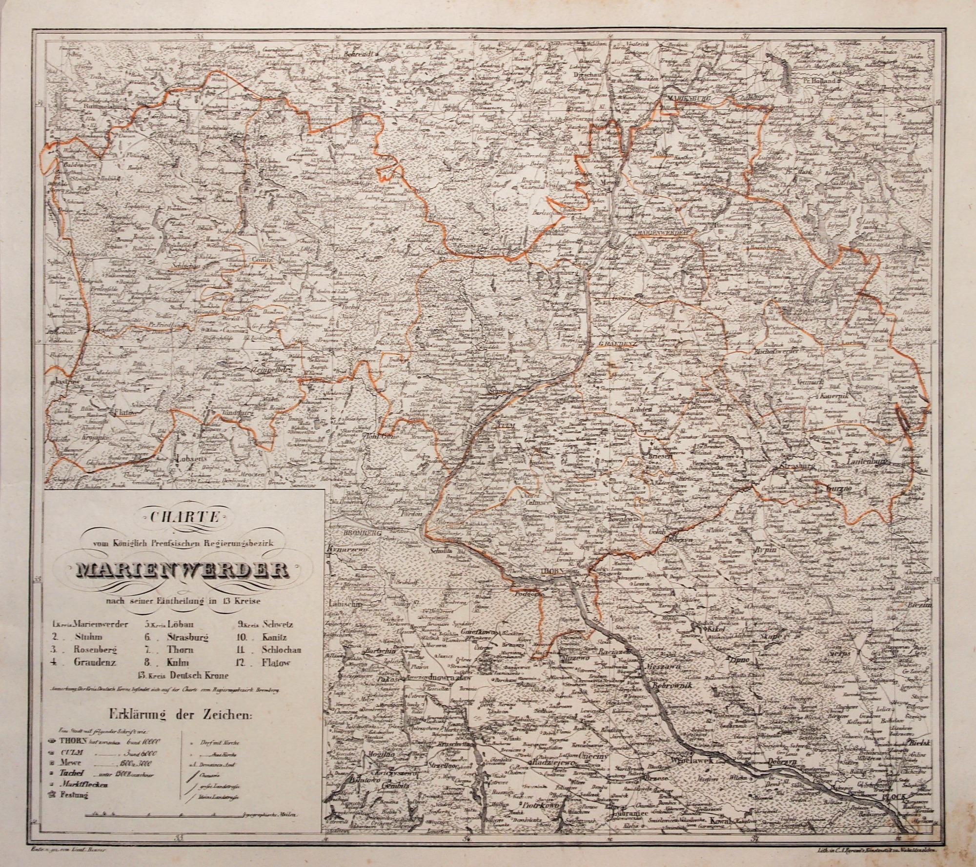 Kwidzyn Mapa Rejencji Kwidzynskiej Utworzonej Po Kongresie