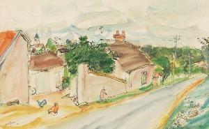 Henryk HAYDEN (1883-1970), Pejzaż z małego miasteczka, 1950