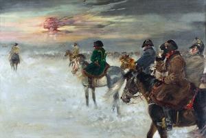 Jerzy KOSSAK (1886-1955), Odwrót Napoleona spod Moskwy, 1936